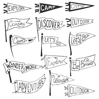 冒険、アウトドア、キャンプペナントのセットです。レトロな白黒ラベル。