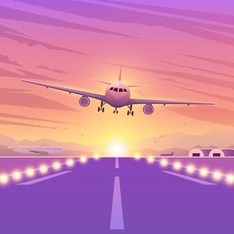 夕日とピンクの背景に飛行機。空を飛んでいる飛行機。着陸の図。