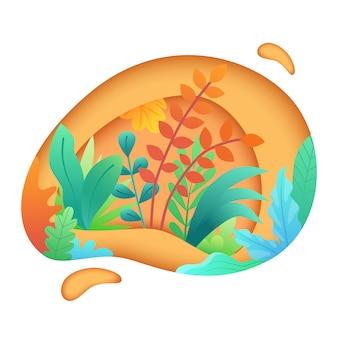 Бумага вырезанная искусство с листьями и растениями
