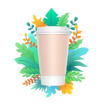Бумажная чашка кофе дизайн с разноцветными листьями и растений