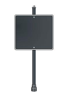 Пустой серый дорожный знак на белом фоне