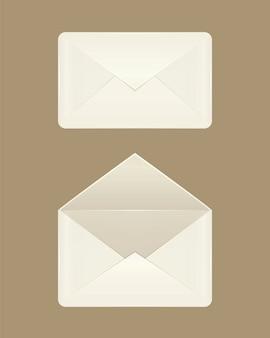 白紙の開いた封筒と閉じた封筒の画像