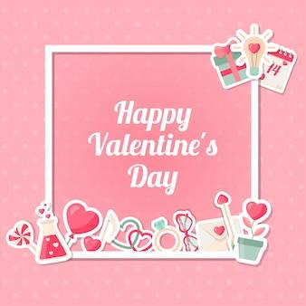 バレンタインデーの背景に正方形のフレーム