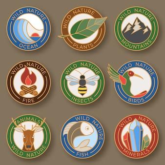 野生の自然からなるロゴコレクションカラーラインスタイル