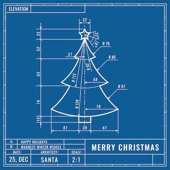 技術的な青写真の描画としてのクリスマスツリー