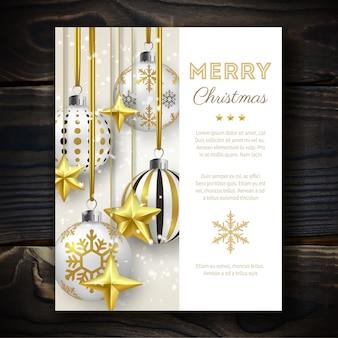 Рождественский фон с сияющими звездами, снегом и разноцветными шариками