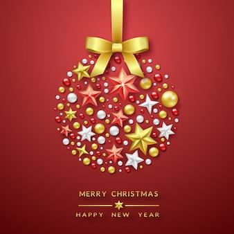 輝く星、弓、カラフルなボールとクリスマスボールの背景