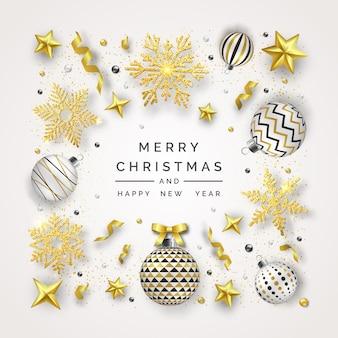 Рождественский фон с блестящими снежинками, бантом и разноцветными шариками