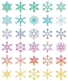 異なる雪片のセット