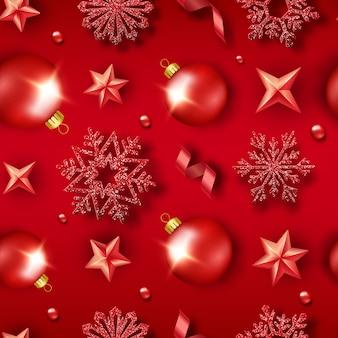 輝く雪、ボール、星、リボン、カラフルな紙吹雪とクリスマスのシームレスなパターン。年賀状イラスト