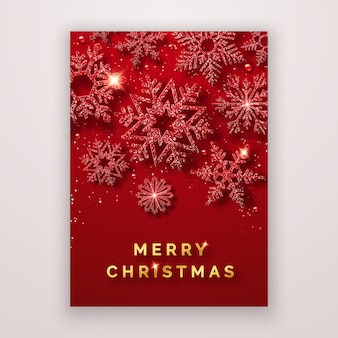 Рождественский флаер с блестящими снежинками и конфетти