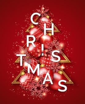 輝く雪、文字、弓、カラフルなボールとクリスマスのグリーティングカード。