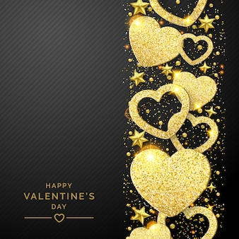 輝く黄金の心と紙吹雪とバレンタインデーの背景