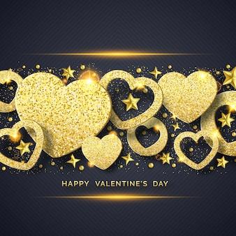 輝く黄金の心、星、ボール、紙吹雪とバレンタインの日水平背景
