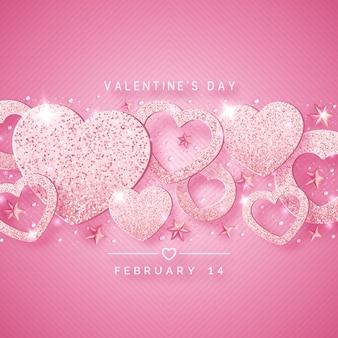 輝くピンクのハート、星、ボール、紙吹雪とバレンタインの日水平背景