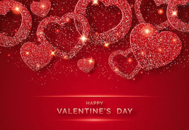 輝く赤いハートと紙吹雪とバレンタインの日水平背景