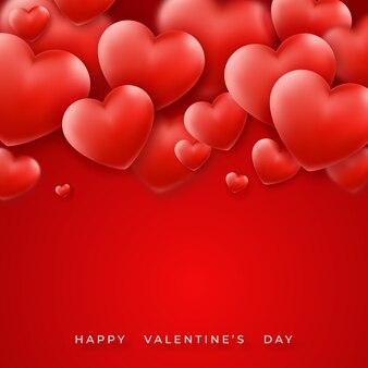 上部とテキストに赤いハートのバレンタインの日。赤の休日レタリンググリーティングカードイラスト
