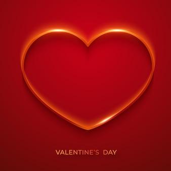 バレンタインデーのシンプルなグリーティングカード。輝く心で。赤のバレンタインの日カードイラスト。赤いハートの休日イラスト