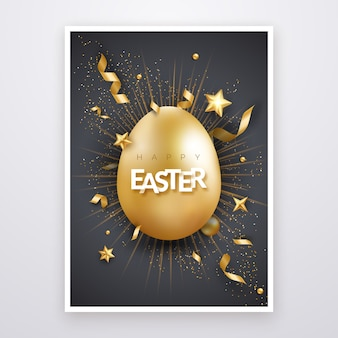 現実的な黄金の卵、テキスト、星、花火、リボンとイースターのグリーティングカード。