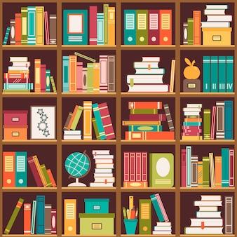 Книжная полка с книгами. бесшовный фон