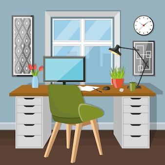 Рабочее место в комнате с окном