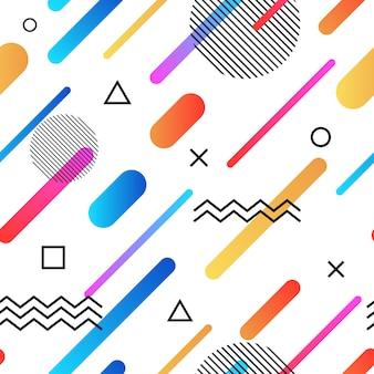 色とりどりのシンプルな幾何学的図形と抽象的なメンフィススタイルレトロなシームレス背景