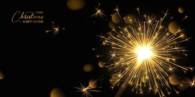 Счастливого рождества баннер фон с бенгальским огнем и световыми эффектами