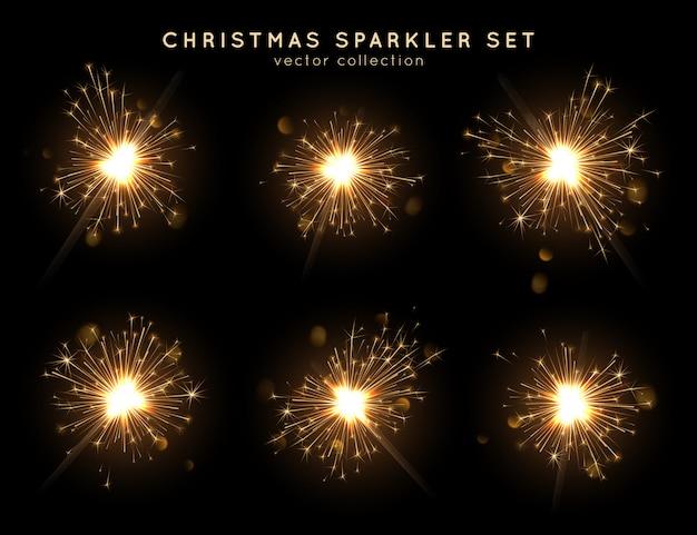 クリスマス線香花火セット、燃焼のさまざまな段階。