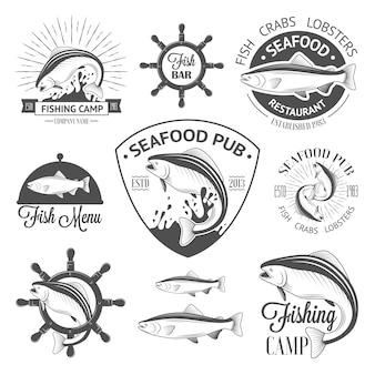 舵を持つヴィンテージ魚ロゴのセット