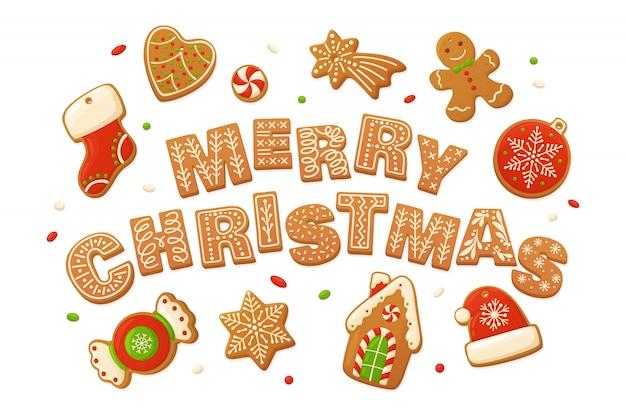 メリークリスマスのベクトルの背景。漫画のジンジャーブレッド