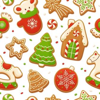 ベクトルジンジャーブレッドクッキー。クリスマスのシームレスな背景