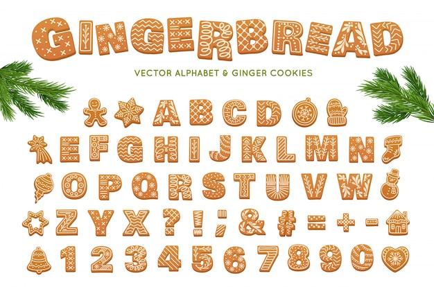 ジンジャーブレッドのアルファベット。クリスマスベクトルジンジャークッキー