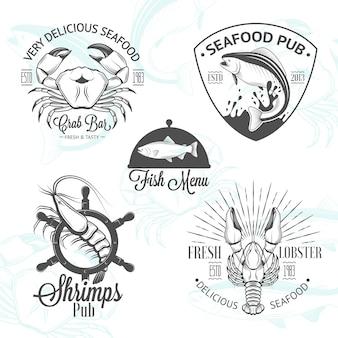 Набор старинных логотипов морепродуктов с рыбой