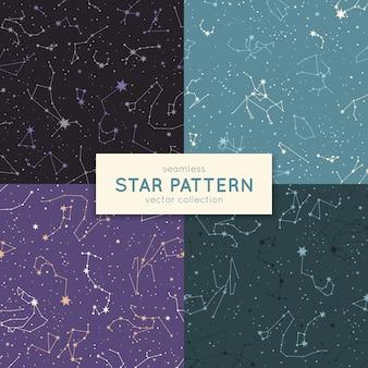 シームレスな星のパターンのセット。
