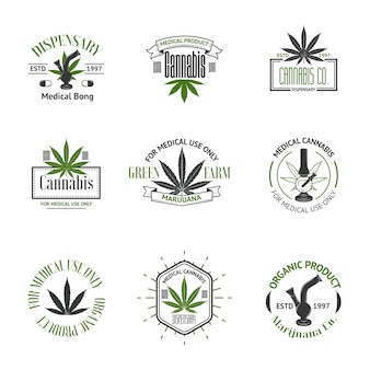 Векторный набор логотипов медицинской марихуаны