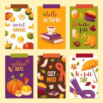 Привет осенний набор плакатов. различные элементы: книги, чай, тыквы, мед, шарфы, листья, подушки, сапоги, свечи, носки.