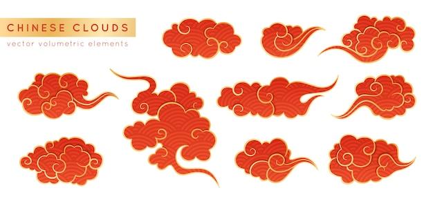 アジアの現実的なクラウドセット。中国、韓国、日本のオリエンタルスタイルの伝統的な曇り飾り