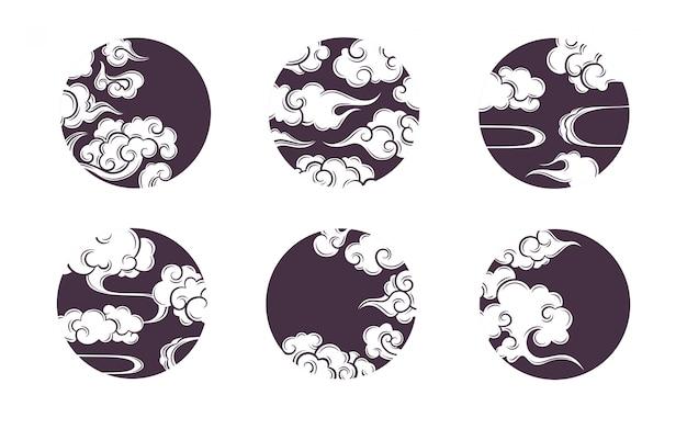 アジアサークル雲セット。中国、韓国、日本のオリエンタルスタイルの伝統的な曇り飾り。ベクター装飾レトロな要素のセット。