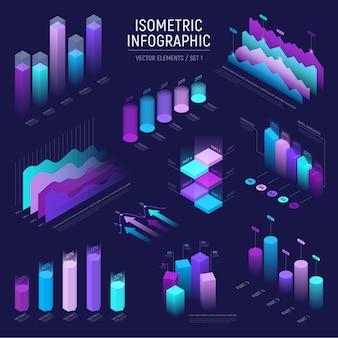 Футуристический изометрической инфографики элементы набора