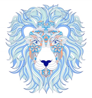 白い背景の上のライオンの頭のベクトルイラスト。