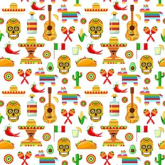 白い背景の上のメキシコの属性