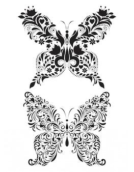 白い背景の上の抽象的な花蝶