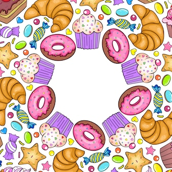 Пригласительная открытка с различными сладостями на белом фоне.