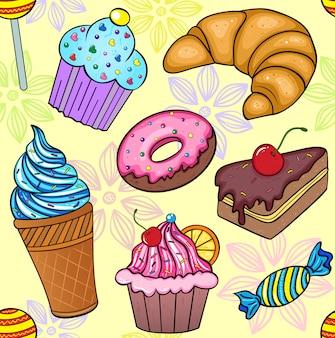 お菓子のシームレスパターンのベクトルイラスト