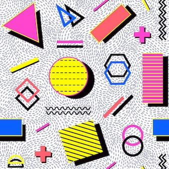 Абстрактный бесшовный паттерн с геометрическими фигурами.