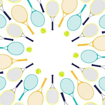 Узор с теннисными ракетками и мячами