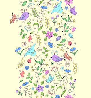抽象的な花とのシームレスなパターンのベクトルイラスト。花の背景