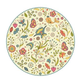 花の手描きのカラフルなパターンのベクトルイラスト