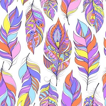 カラフルな抽象的な羽とのシームレスなパターンのベクトルイラスト