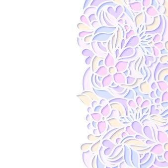 カラフルな花柄ボーダーのベクトルイラスト